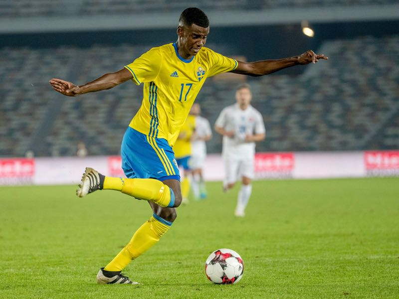 Picture taken on January 12, 2017 shows Swedish football player Alexander Isak during a friendly football match between Sweden and Slovaka at Zayed Sports City Stadium in Abu Dhabi. Swedish football prodigy Alexander Isak -- dubbed the next Zlatan Ibrahimovic -- is on the verge of signing with German first division Bundesliga club Borussia Dortmund, snubbing an offer from Real Madrid, Swedish daily Aftonbladet reported on January 21, 2017. / AFP / TT News Agency / Adam IHSE / Sweden OUT (Photo credit should read ADAM IHSE/AFP/Getty Images)
