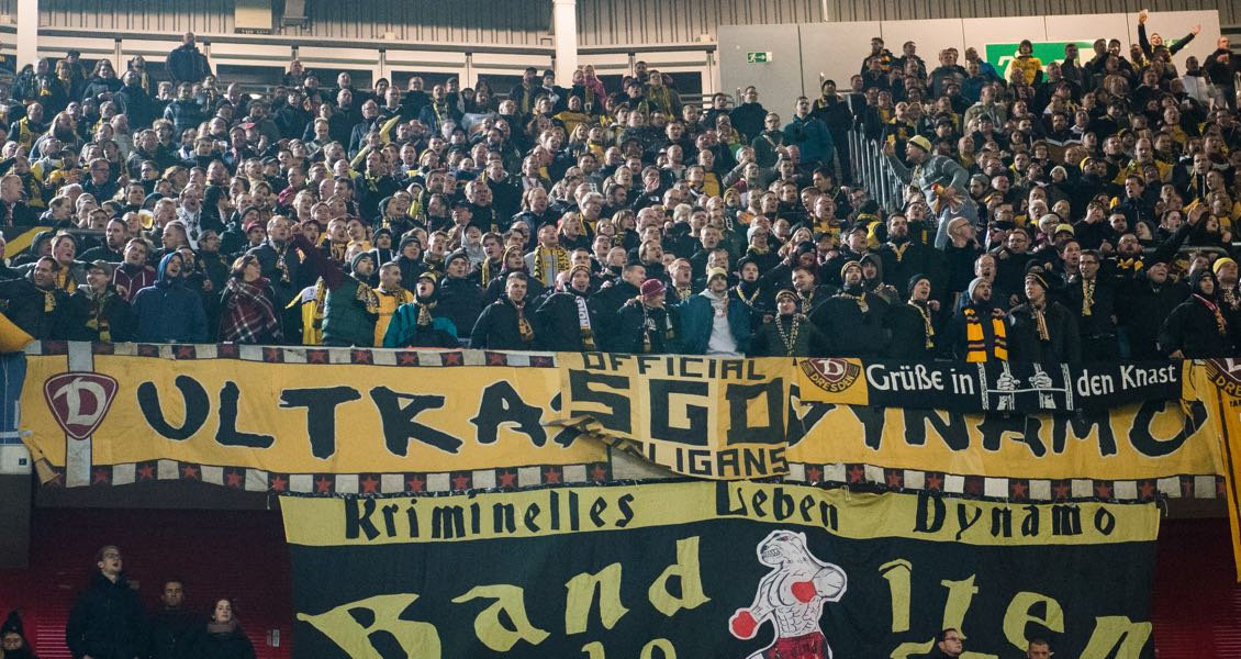 Fans of Dresden are seen during the Second Bundesliga match between Fortuna Duesseldorf and SG Dynamo Dresden at Esprit-Arena on November 4, 2016 in Duesseldorf, Germany. (Photo by Lukas Schulze/Bongarts/Getty Images)