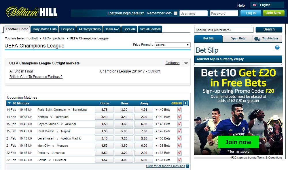 bet on live UEFA Champions League matches today!
