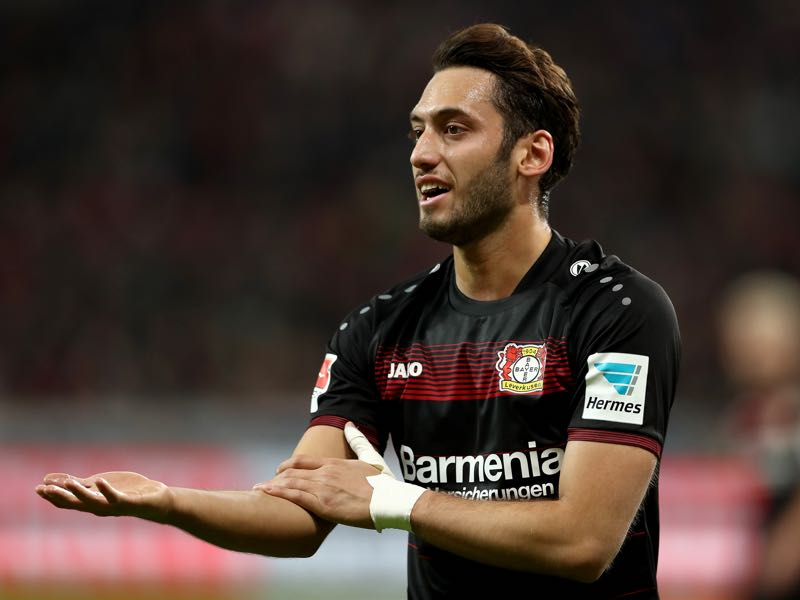 Hakan Calhanoglu of Bayer Leverkusen gestures during the Bundesliga match between Bayer 04 Leverkusen and Borussia Moenchengladbach at BayArena on January 28, 2017 in Leverkusen, Germany. (Photo by Lars Baron/Bongarts/Getty Images)