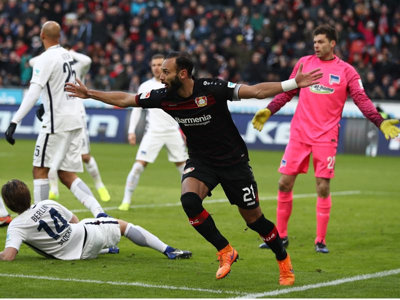 mer Toprak of Leverkusen celebrates scoring the first goal during the Bundesliga match between Bayer 04 Leverkusen and Hertha BSC at BayArena on January 22, 2017 in Leverkusen, Germany. (Photo by Lars Baron/Bongarts/Getty Images)mer Toprak of Leverkusen celebrates scoring the first goal during the Bundesliga match between Bayer 04 Leverkusen and Hertha BSC at BayArena on January 22, 2017 in Leverkusen, Germany. (Photo by Lars Baron/Bongarts/Getty Images)