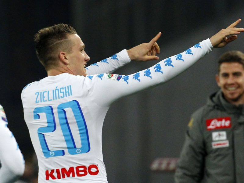 Napoli's Polish midfielder Piotr Zielinski celebrates after scoring a goal during the Italian Serie A football match SSC Napoli vs Genoa CFC on February 10, 2017, at the San Paolo Stadium in Naples. / AFP / CARLO HERMANN (Photo credit should read CARLO HERMANN/AFP/Getty Images)