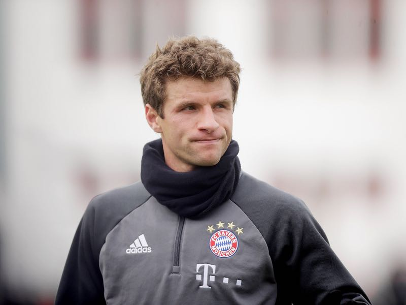 Thomas Mueller of Bayern reacts after a FC Bayern Muenchen training session at Saebener Strasse on February 8, 2017 in Munich, Germany. (Photo by Johannes Simon/Bongarts/Getty Images)