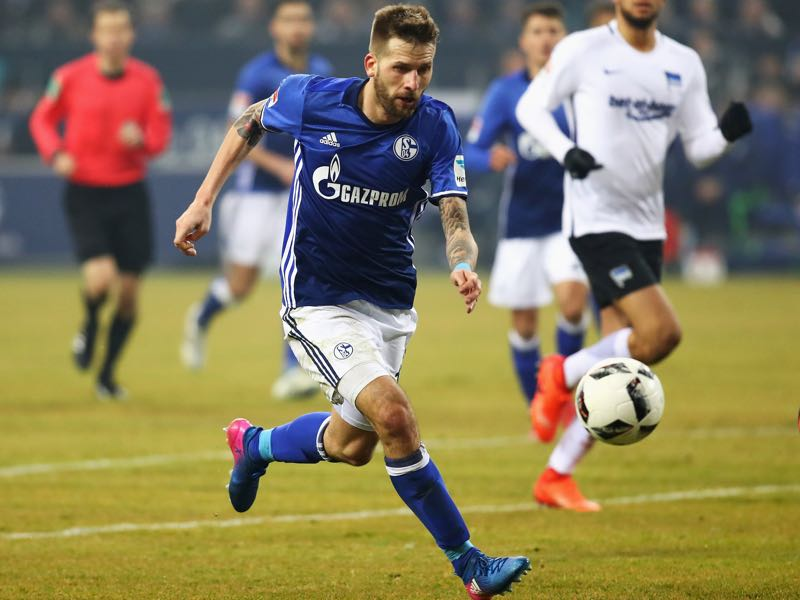 Guido Burgstaller of Schalke in action during the Bundesliga match between FC Schalke 04 and Hertha Berliner Sport-Club at Veltins-Arena on February 11, 2017 in Gelsenkirchen, Germany. (Photo by Dean Mouhtaropoulos/Bongarts/Getty Images)