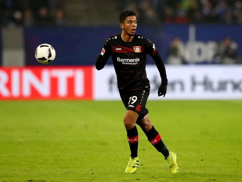Benjamin Henrichs of Leverkusen runs with the ball during the Bundesliga match between Hamburger SV and Bayer 04 Leverkusen at Volksparkstadion on February 3, 2017 in Hamburg, Germany. (Photo by Martin Rose/Bongarts/Getty Images)