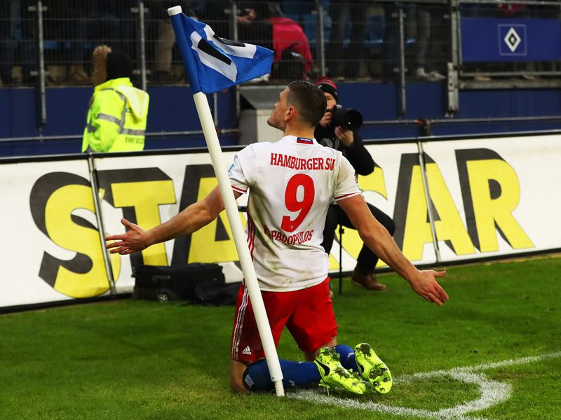 Kyriakos Papadopoulos of Hamburger SV celebrates scoring a goal during the Bundesliga match between Hamburger SV and Bayer 04 Leverkusen at Volksparkstadion on February 3, 2017 in Hamburg, Germany. (Photo by Martin Rose/Bongarts/Getty Images)