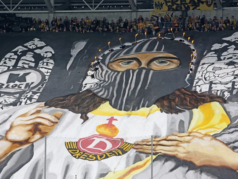 Supporters of Dresden show a big banner during the Second Bundesliga match between SG Dynamo Dresden and VfB Stuttgart at DDV-Stadion on October 15, 2016 in Dresden, Germany. (Photo by Matthias Kern/Bongarts/Getty Images)