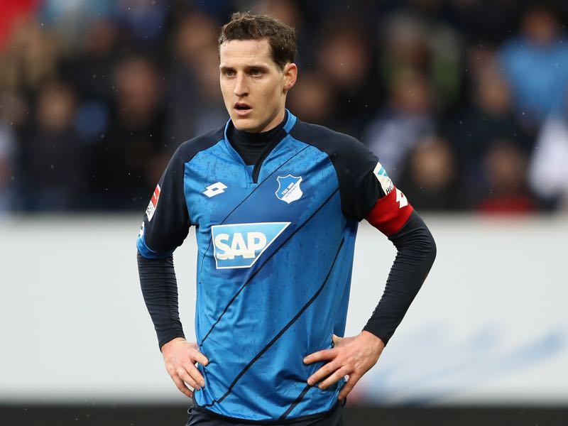Sebastian Rudy of Hoffenheim reacts during the Bundesliga match between TSG 1899 Hoffenheim and 1. FSV Mainz 05 at Wirsol Rhein-Neckar-Arena on February 4, 2017 in Sinsheim, Germany. (Photo by Alex Grimm/Bongarts/Getty Images)