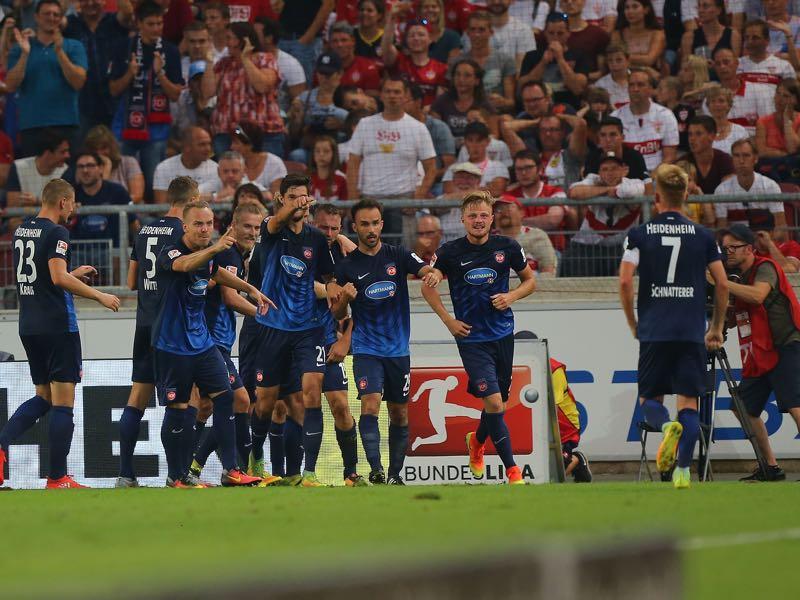 The team of Heidenheim celebrates during the Second Bundesliga match between VfB Stuttgart and 1. FC Heidenheim 1846 at Mercedes-Benz Arena on September 9, 2016 in Stuttgart, Germany. (Photo by Thomas Niedermueller/Bongarts/Getty Images)