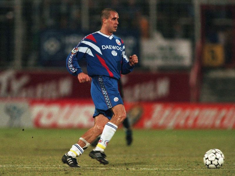 Stefan Beinlich and his club Hansa Rostock needed 40-points to preserver in the 1996-97 relegation battle (Photo by Bongarts/Getty Images)