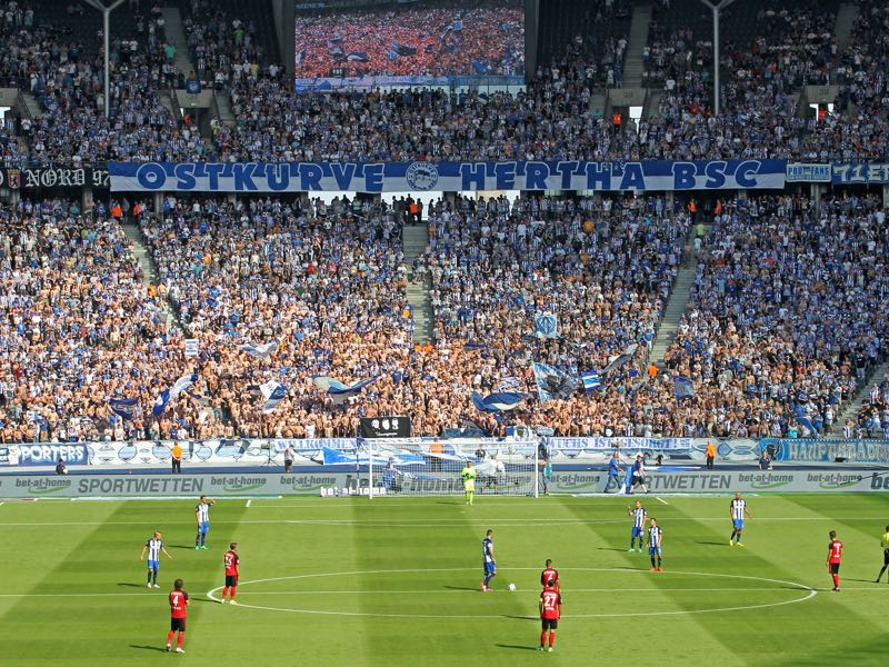 The Olympiastadion in Berlin is a magnificent facility, but with 76,000 seats is simply to big for Hertha Berlin. (Photo by Matthias Kern/Bongarts/Getty Images)