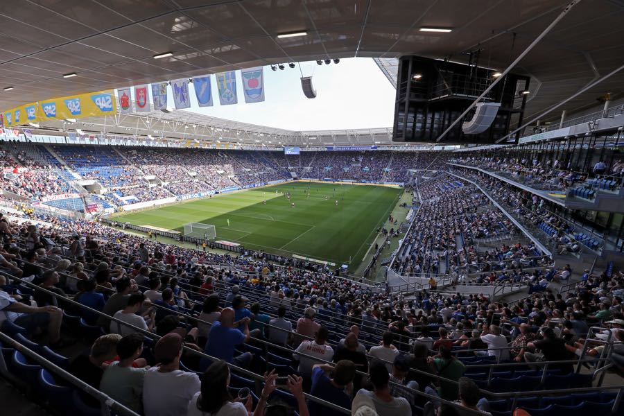 Hoffenheim vs Lyon will take place at the Rhein-Neckar-Arena (Photo by Simon Hofmann/Bongarts/Getty Images)