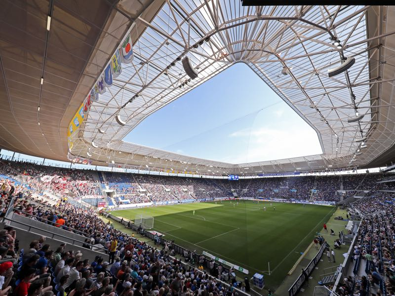 Hoffenheim vs Köln will take place at the Rhein-Neckar-Arena in Sinsheim. (Photo by Simon Hofmann/Bongarts/Getty Images)