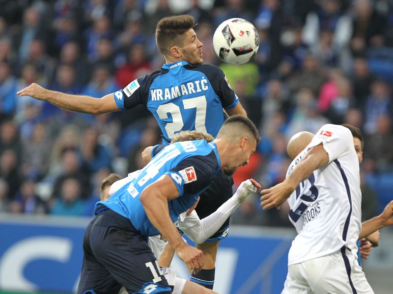 Hoffenheim's Croatian forward Andrej Kramaric (top) and Hoffenheim's forward Sandro Wagner are Hoffenheim's key players. (DANIEL ROLAND/AFP/Getty Images)