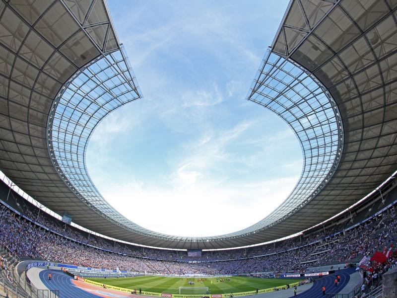 Hertha vs Bayer Leverkusen will take place at the Olympiastadion in Berlin (Photo by Matthias Kern/Bongarts/Getty Images)