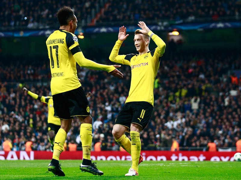 Pierre-Emerick Aubameyang (l.) and Marco Reus (r.) will be Borussia Dortmund's key players. (Photo by Gonzalo Arroyo Moreno/Getty Images)