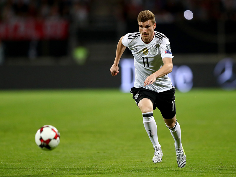 Timo Werner of Germany and RB Leipzig in action during the FIFA 2018 World Cup Qualifier between Germany and San Marino. (Photo by Martin Rose/Bongarts/Getty Images)