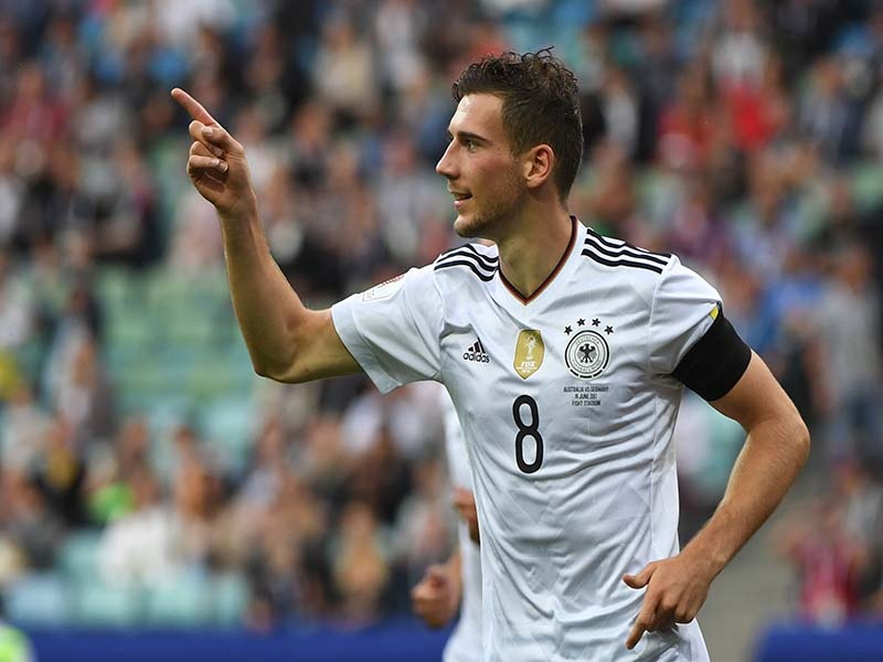 Germany's midfielder Leon Goretzka reacts after scoring a goal during the 2017 Confederations Cup group B football match between Australia and Germany (PATRIK STOLLARZ/AFP/Getty Images)