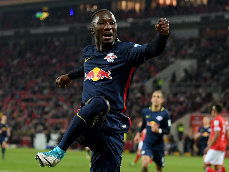 Naby Keïta elebrates after he scores his team's 3rd goal during the Bundesliga match between 1. FSV Mainz 05 and RB Leipzig at Opel Arena on April 5, 2017 in Mainz, Germany. (Photo by Matthias Hangst/Bongarts/Getty Images)
