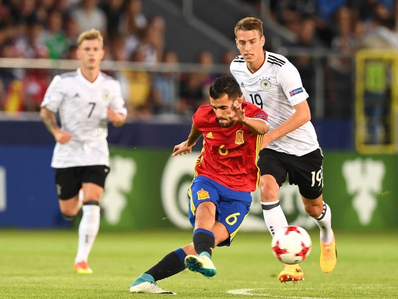 Janik Haberer had a bit of a workhorse role in the U-21 final against Spain. (JANEK SKARZYNSKI/AFP/Getty Images)