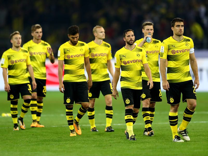 Dortmund fans show their disappointment after losing the Supercup to Bayern München. (Photo by Martin Rose/Bongarts/Getty Images)