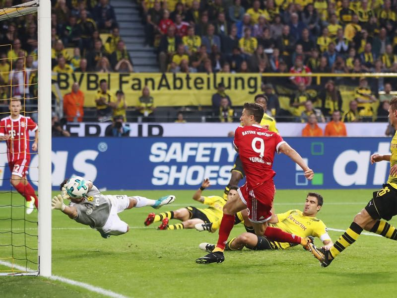 Robert Lewandowski's tying goal at the Supercup was controversial. (Photo by Alex Grimm/Bongarts/Getty Images )