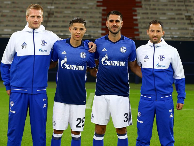 Amine Harit (second from left) and Pablo Insua (third from left) are the key signings for Schalke 04. (Photo by Christof Koepsel/Bongarts/Getty Images)