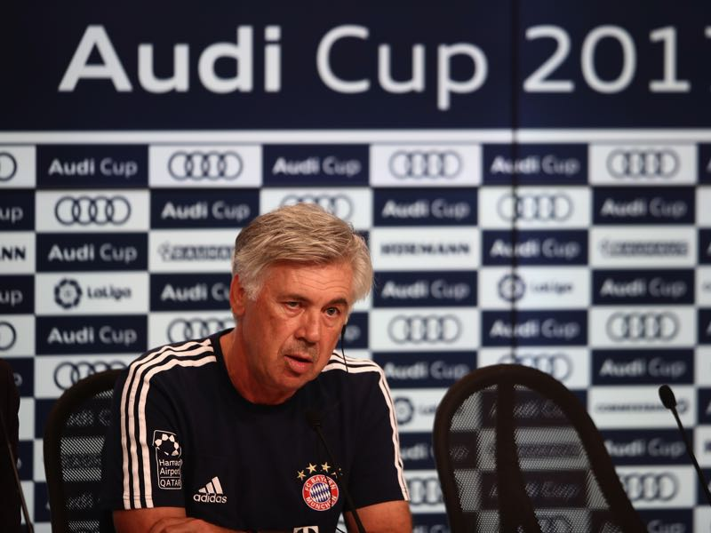 Carlo Ancelotti had some tough questions to answer following Bayern's performance at the Audi Cup. (Photo by Alex Grimm/Bongarts/Getty Images for Audi)