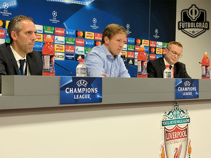Julian Nagelsmann speaks at the post-match press conference, Anfield, Liverpool (Photo: Chris Williams / Futbolgrad Network)
