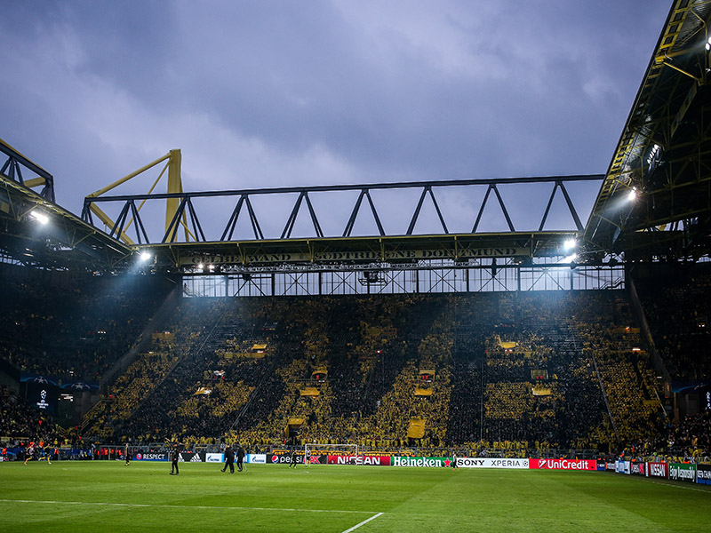 Borussia Dortmund vs Real Madrid - The famous 'Yellow Wall' at Signal Iduna Park in Dortmund, renamed to the BVB Stadion on all European nights including for Borussia Dortmund vs Real Madrid. (Photo by Maja Hitij/Bongarts/Getty Images)