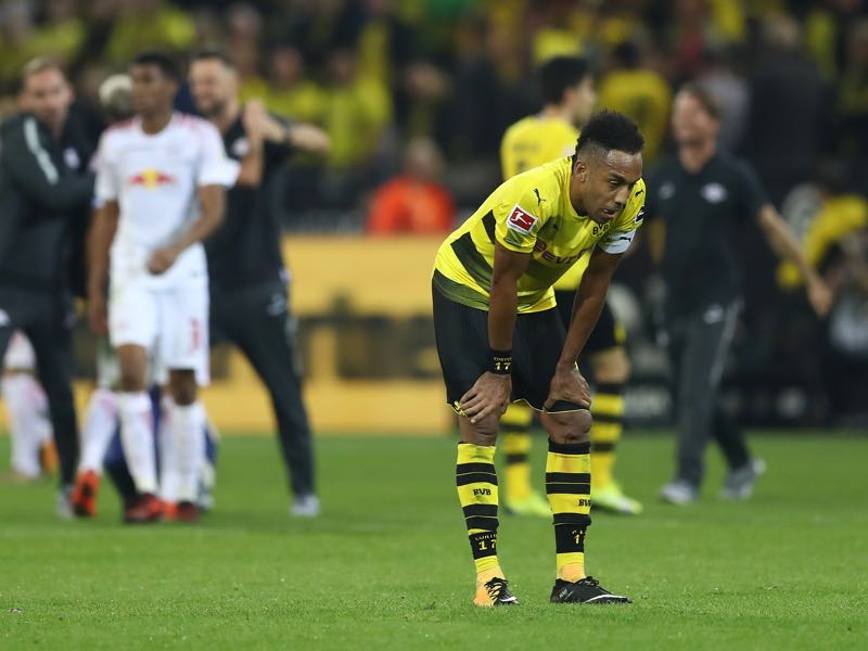 Although he scored 31 goals last season Aubameyang for Dortmund is wasteful when it comes to converting his chances. (Photo by Lars Baron/Bongarts/Getty Images)