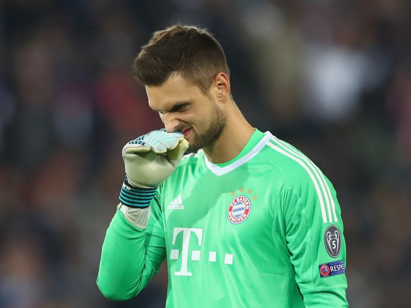 Sven Ulreich reacts to Bayern's heavy defeat to PSG two weeks ago. (Photo by Alexander Hassenstein/Bongarts/Getty Images)