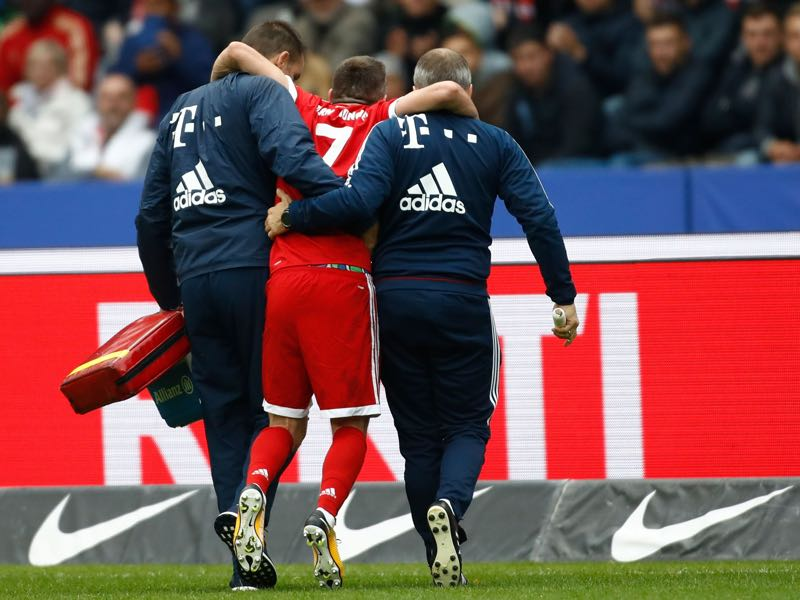 Frank Ribéry had to be carried off the pitch. (ODD ANDERSEN/AFP/Getty