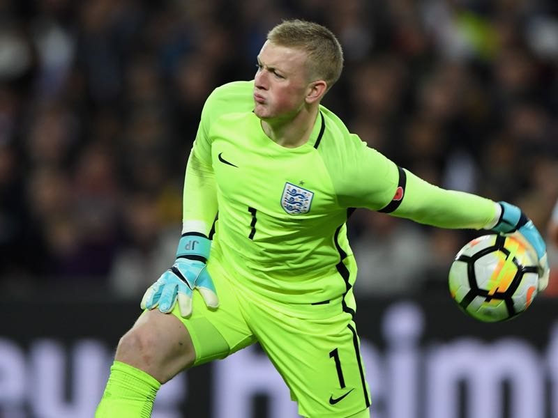 England keeper Pickford was excellent in the first half keeping England in the game. (Photo by Matthias Hangst/Bongarts/Getty Images)