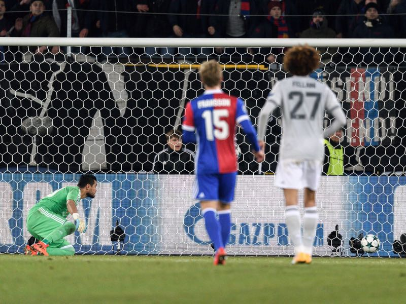 Basel v Manchester United - The moment that decided the game. (FABRICE COFFRINI/AFP/Getty Images)