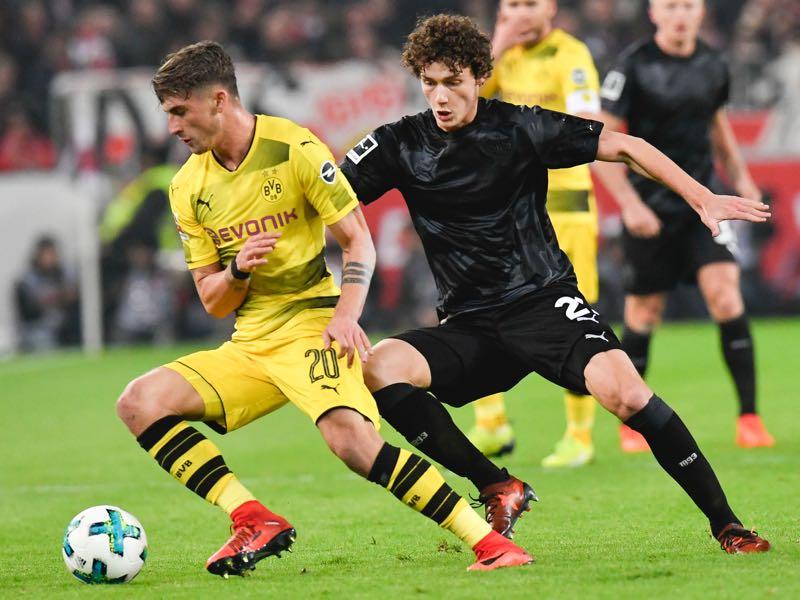 Benjamin Pavard (r.) has been phenomenal this season. (THOMAS KIENZLE/AFP/Getty Images)