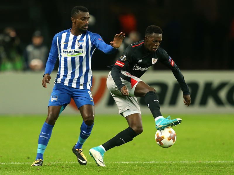 Iñaki Williams (r.) in action against Hertha Berlin on matchday 1 of the UEFA Europa League. (Photo by Matthias Kern/Bongarts/Getty Images)