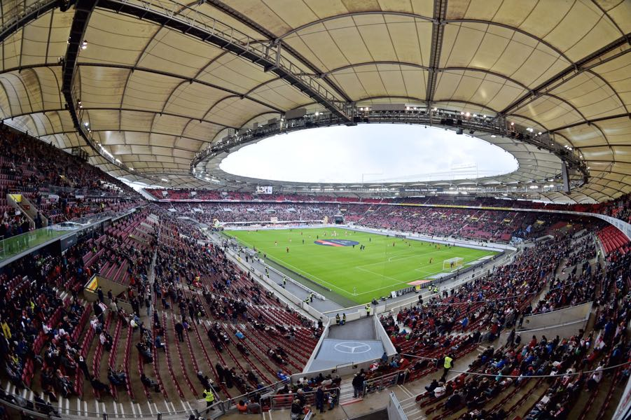 Stuttgart vs Leipzig will take place at the Mercedes-Benz Arena in Stuttgart. (Photo by Thomas Starke/Bongarts/Getty Images)