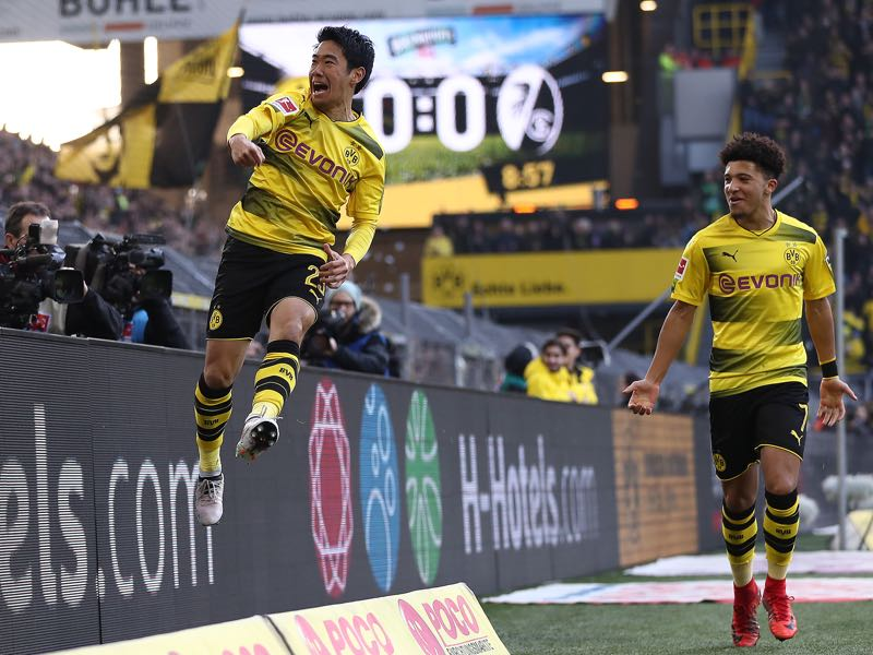 Borussia Dortmund vs SC Freiburg - Shinji Kagawa opened the scoring in the first half. (Photo by Lars Baron/Bongarts/Getty Images)