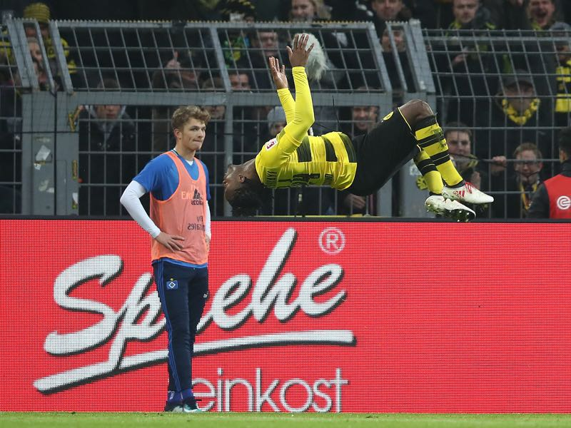 Dortmund vs Hamburg - Man of the match Batshuayi celebrates his goal in Aubameyang fashion. (Photo by Oliver Hardt/Bongarts/Getty Images)