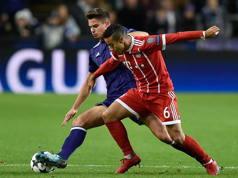 Thiago finds himself under probation at Bayern. (JOHN THYS/AFP/Getty Images)
