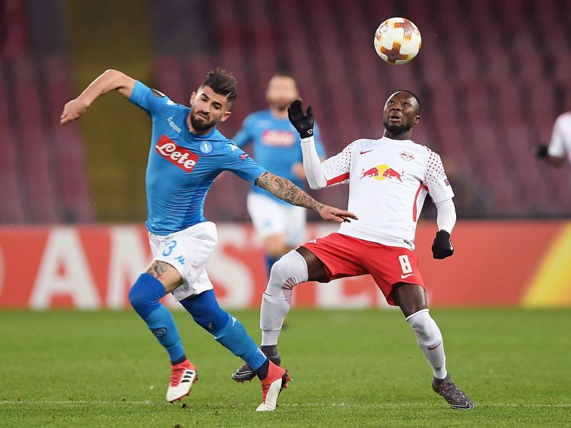 Napoli vs Leipzig was tightly fought affair in the first half. (Photo by Francesco Pecoraro/Getty Images)