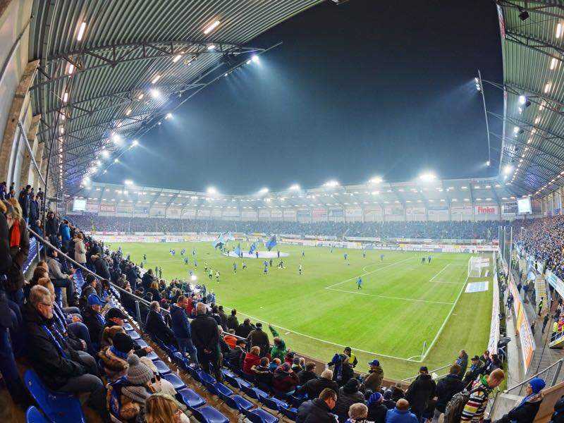 The DFB Pokal match Paderborn vs Hamburg will take place at the Benteler Arena in Paderborn. (Photo by Thomas Starke/Bongarts/Getty Images)