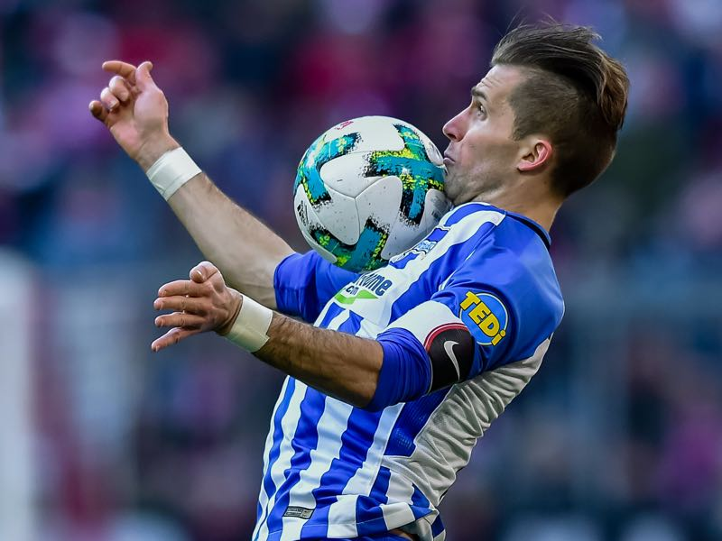 Peter Pekarik and Hertha were solid in the back. (GUENTER SCHIFFMANN/AFP/Getty Images)