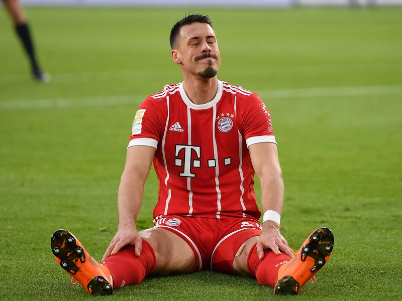 Wolfsburg vs Bayern - Sandro Wagner and Bayern could not find a way through Wolfsburg's defence in the first half. (Photo by Stuart Franklin/Bongarts/Getty Images)
