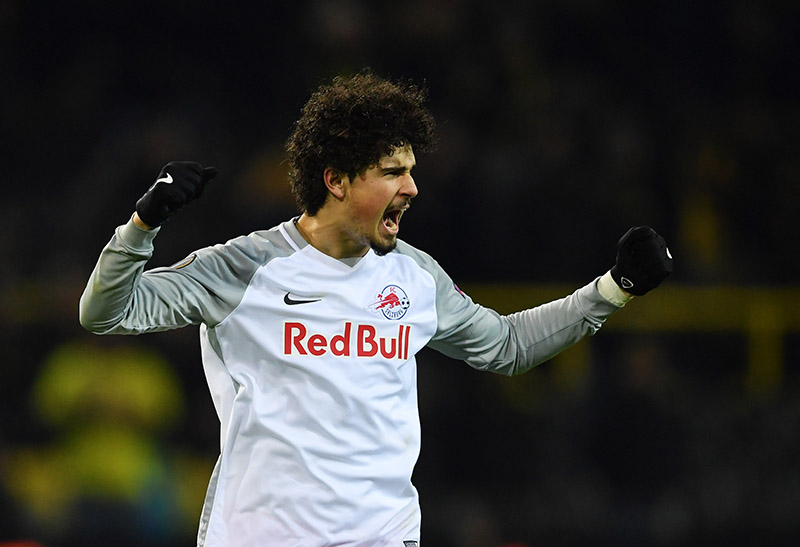Salzburg vs Dortmund - Andre Ramalho celebrates victory over Borussia Dortmund in the Europa League. (Photo by Stuart Franklin/Bongarts/Getty Images)