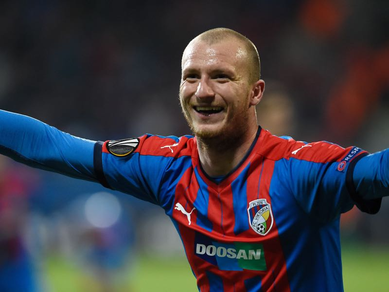 Michael Krmencik has been a goal scoring machine for Viktoria Plzen this season. (MICHAL CIZEK/AFP/Getty Images)