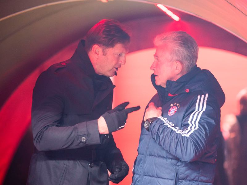Ralph Hasenhüttl (l.) is among the favourites to replace Bayern coach Heynckes (r.) (ROBERT MICHAEL/AFP/Getty Images)