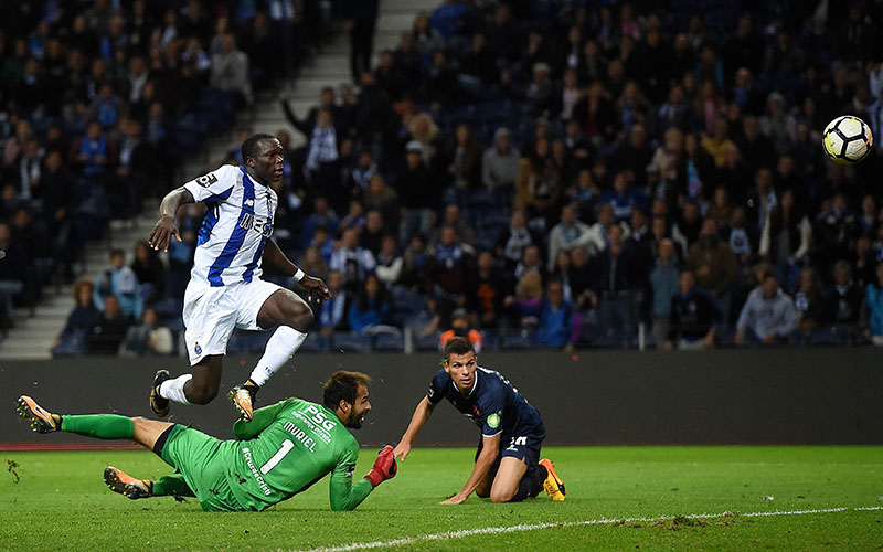 Porto's Cameroonian forward Vincent Aboubakar will be among the star players in the Champions League Group D (FRANCISCO LEONG/AFP/Getty Images)