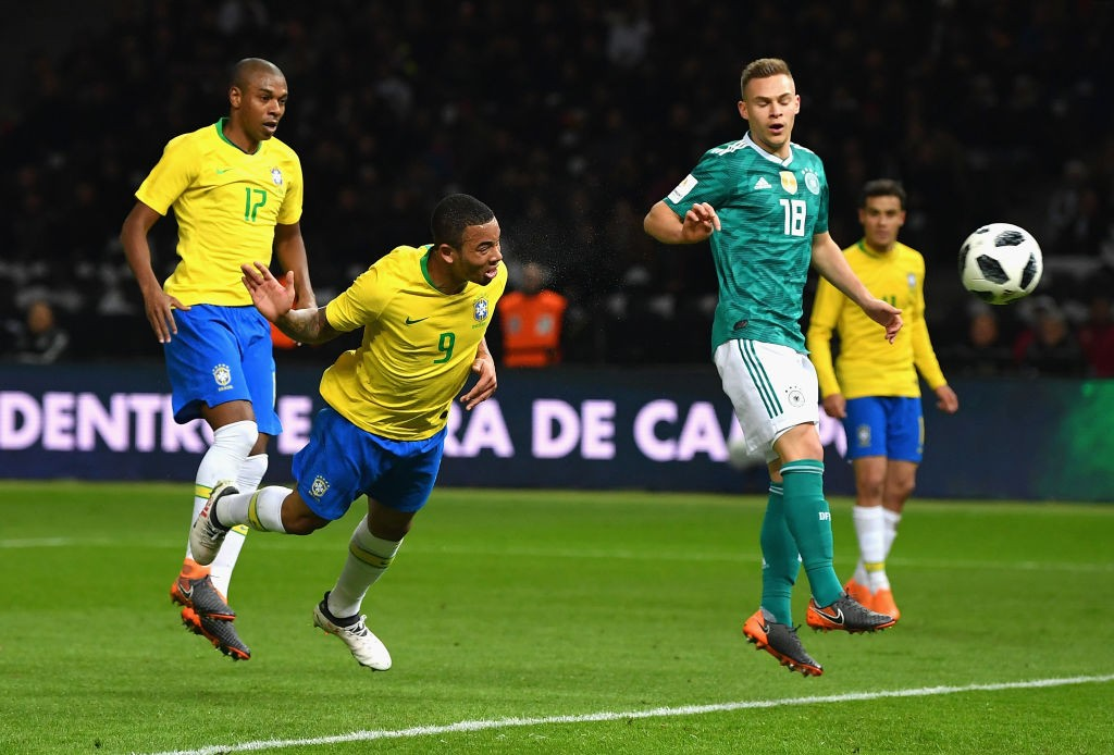 Gabriel Jesus (c.) will try to make the World Cup his breakout tournament (Photo by Stuart Franklin/Bongarts/Getty Images)